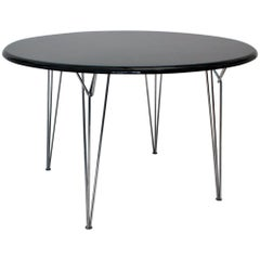 Scandinavian Modern Black Metal Vintage Dining Table Center Table, 1960s