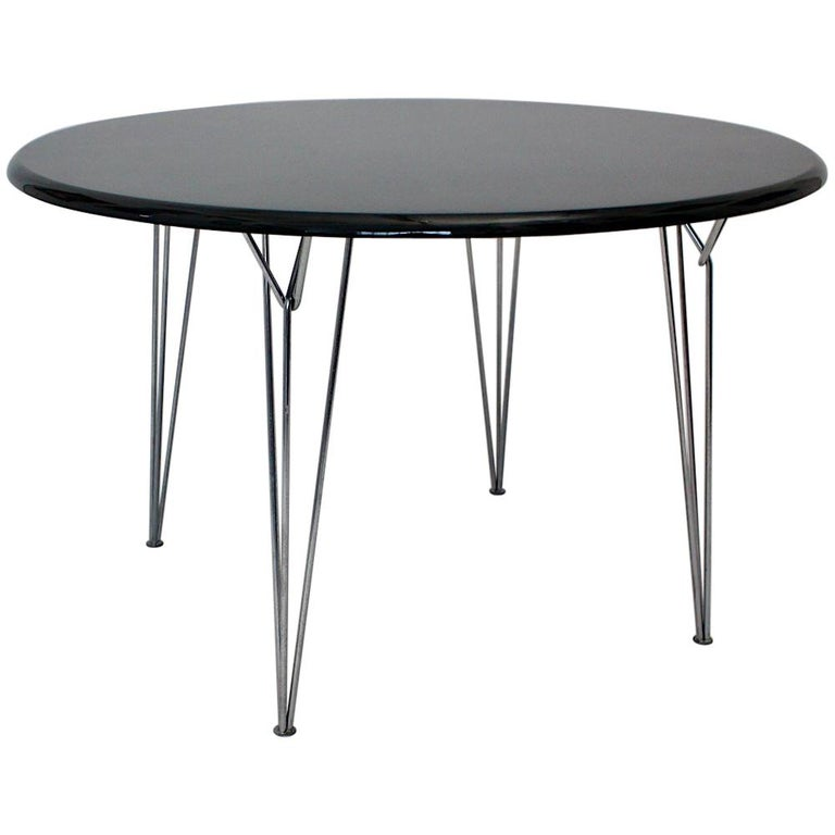 Scandinavian Modern Black Metal Vintage Dining Table Center Table, 1960s For Sale