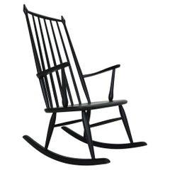 Scandinavian Modern Black Vintage Rocking Chair, 1960s, Denmark