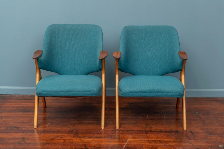 Scandinavian Modern Blinken armchairs by Rastad & Relling, Norway. Upholstery is in good original condition and chairs are super comfy as-is or upholster in your choice of fabric.