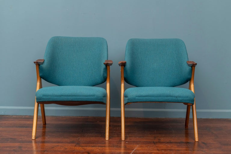 Norwegian Scandinavian Modern Blinken Armchairs by Rastad & Relling For Sale
