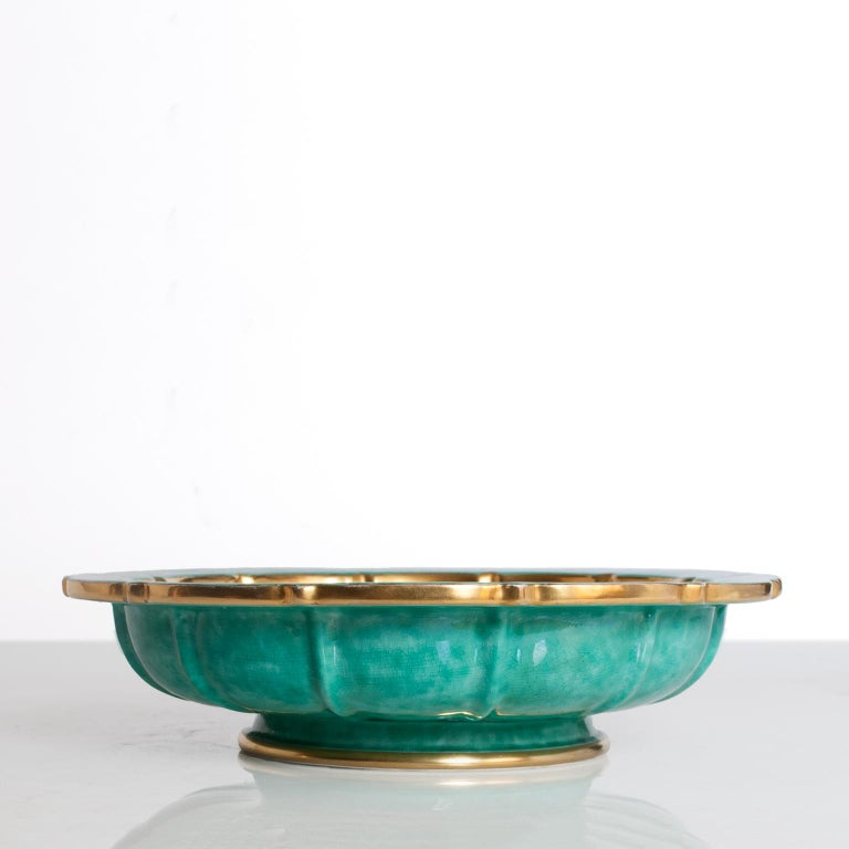 20th Century Scandinavian Modern Bowl by Wilhelm Kage for Gustavsberg Gold and Green For Sale
