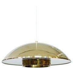 Scandinavian Modern Brass & Acrylic Pendant Lamp by Bergboms, Sweden, 1960s