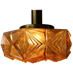 Scandinavian Modern Brass and Amber Glass Ceiling Lamp by Vitrika, 1960s