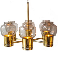 Scandinavian Modern Brass and Glass Candle Pendant 1960s by Hans Agne Jakobsson