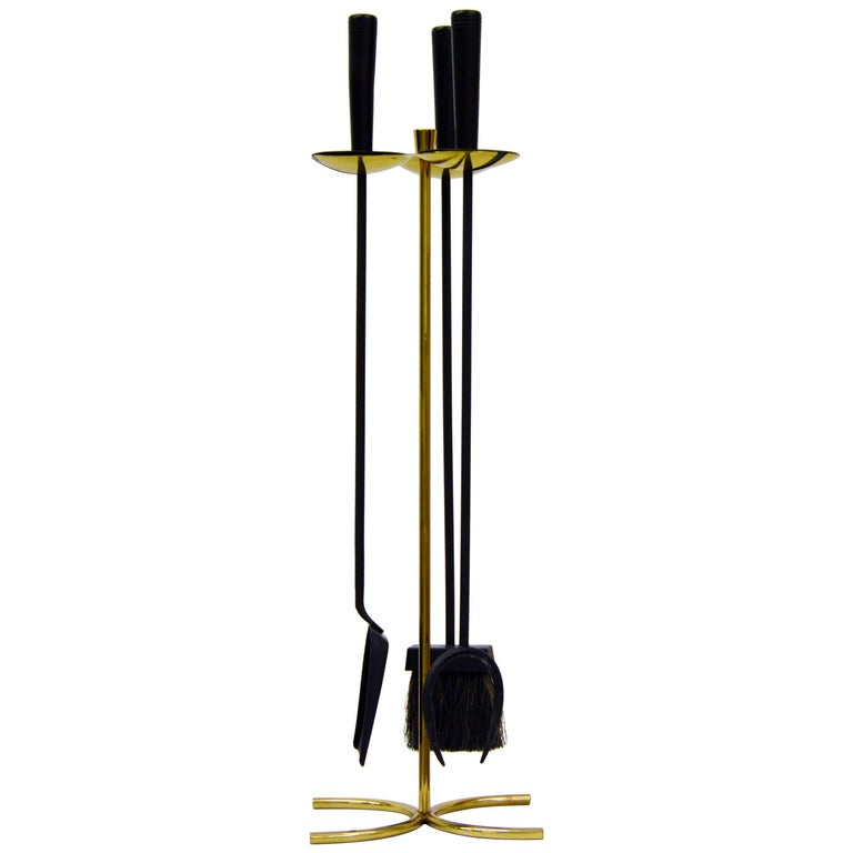 Scandinavian Modern Brass and Metal Sword Fireplace Set from Ystad Metall For Sale