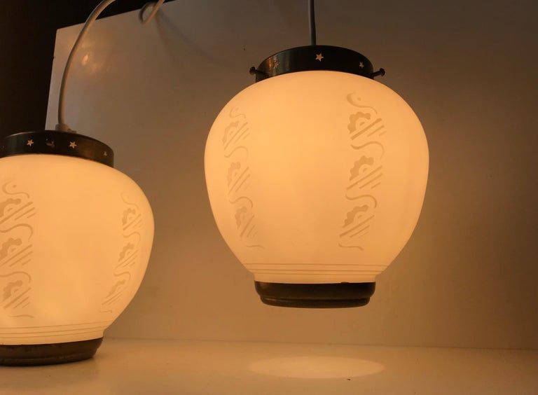 Scandinavian Modern Brass and Opaline Glass Ceiling Lamps, 1950s In Good Condition For Sale In Esbjerg, DK