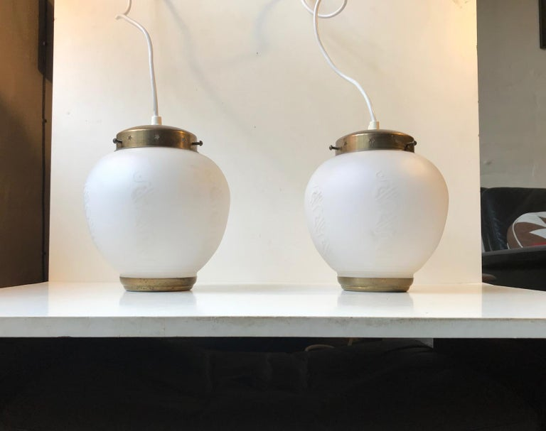 Mid-20th Century Scandinavian Modern Brass and Opaline Glass Ceiling Lamps, 1950s For Sale