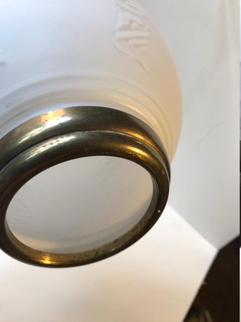 Scandinavian Modern Brass and Opaline Glass Ceiling Lamps, 1950s For Sale 1