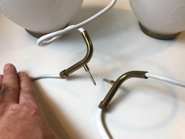 Scandinavian Modern Brass and Opaline Glass Ceiling Lamps, 1950s For Sale 2