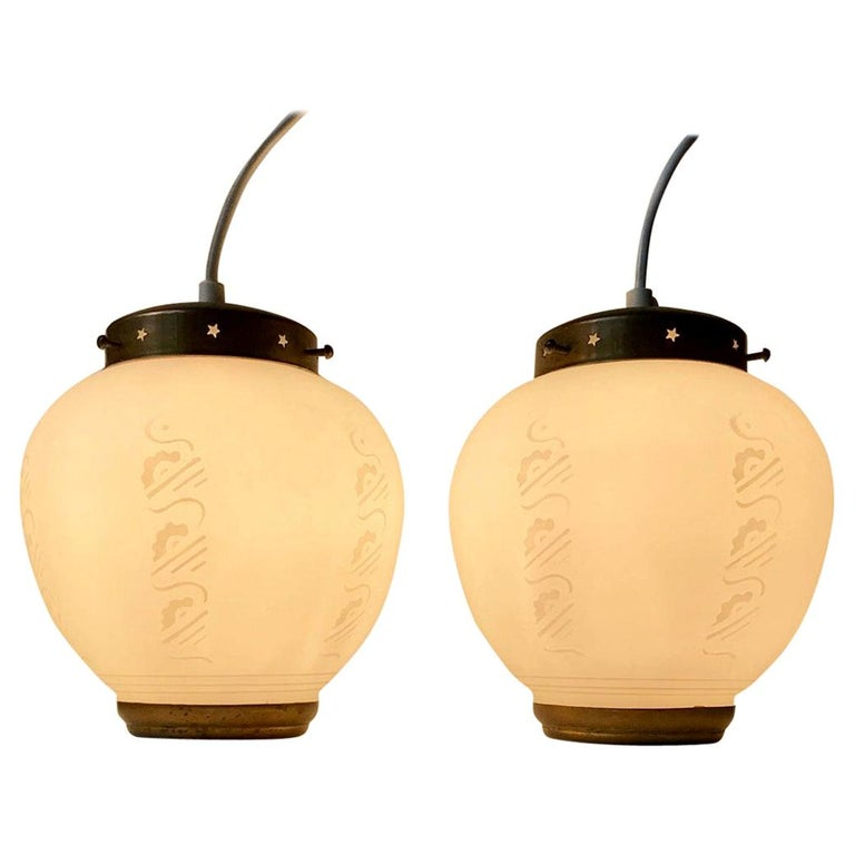 Scandinavian Modern Brass and Opaline Glass Ceiling Lamps, 1950s For Sale