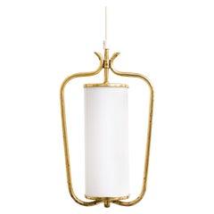 Scandinavian Modern Brass and Opaline Glass Pendant Lamp by Valinte, 1950s