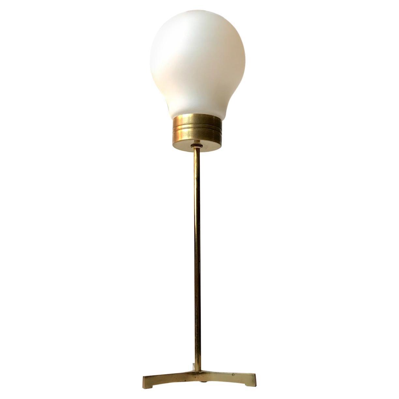 Scandinavian Modern Brass and Opaline Tri-Stand Table Lamp, 1960s