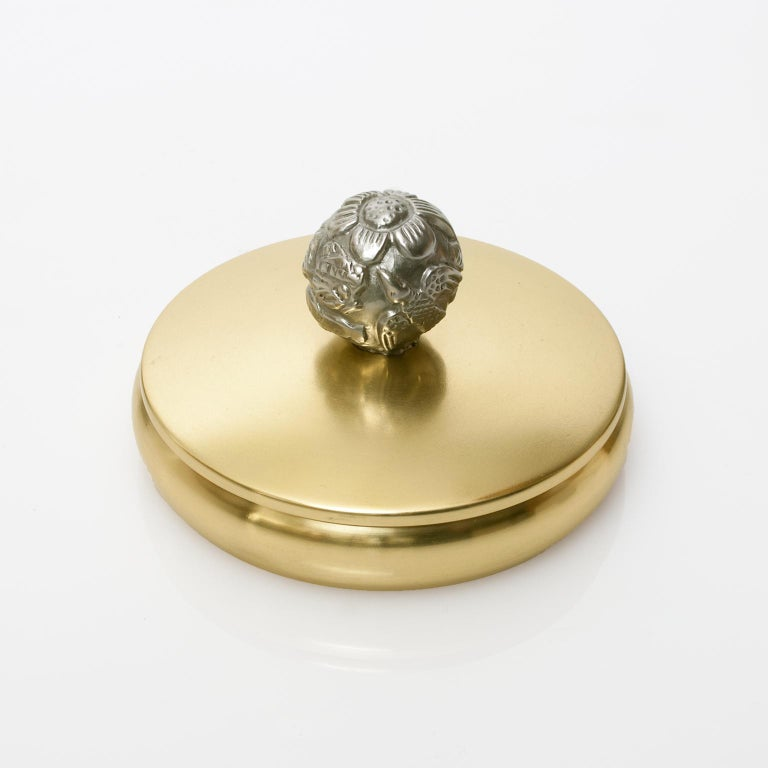 Scandinavian Modern Brass and Pewter Lidded Bowl by Carl-Einar Bergstrom,Ystad In Good Condition For Sale In New York, NY
