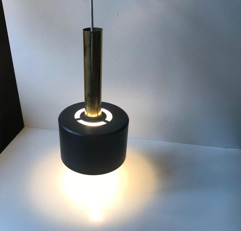 Scandinavian Modern Brass Club Pendant Lamp, 1960s In Good Condition For Sale In Esbjerg, DK
