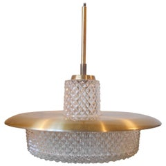 Scandinavian Modern Brass & Crystal Ceiling Lamp by Carl Fagerlund for Orrefors