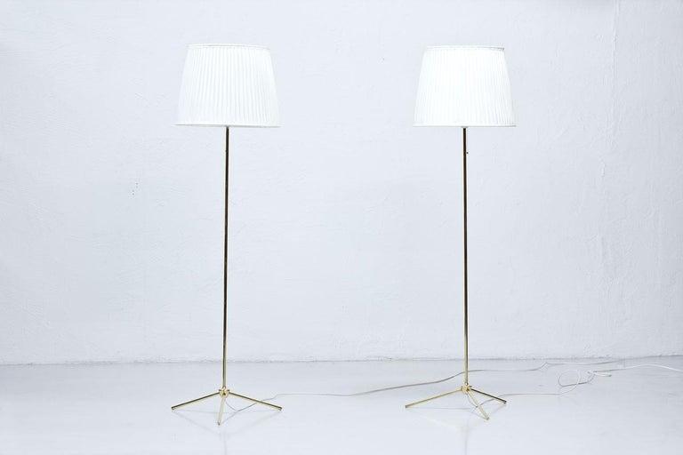 Swedish Scandinavian Modern Brass Floor Lamps