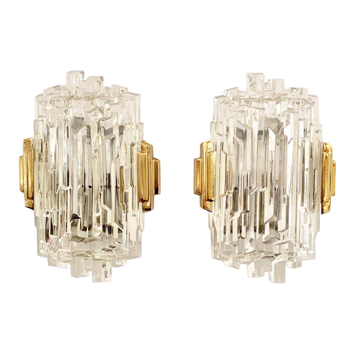 Scandinavian Modern Brass, Ice Glass Sconces