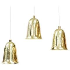Scandinavian Modern Brass Pendant Lamps by Boréns, Sweden, 1950s, Set of 3
