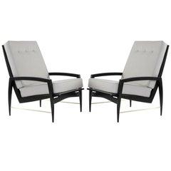 Scandinavian Modern Brass Rodded Lounge Chairs, 1950s