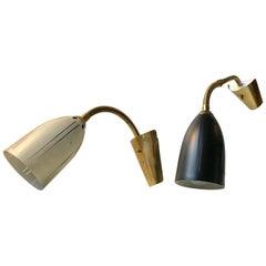 Scandinavian Modern Brass Sconces from EWÅ, 1950s, Set of 2