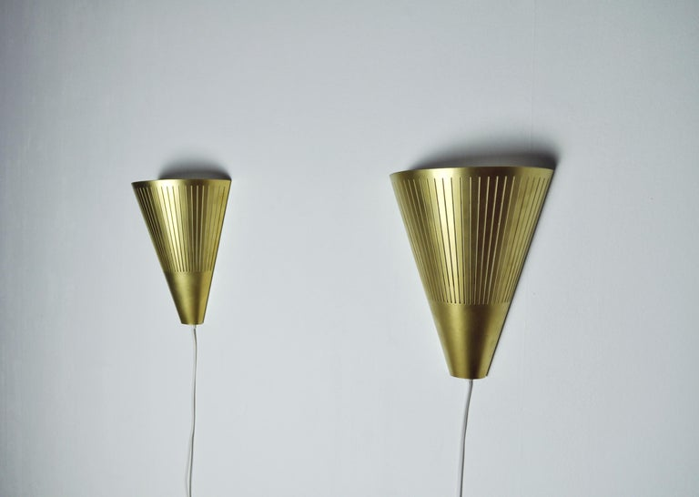 Scandinavian Modern Brass Wall Sconces by Danish Lyfa, 1960s-1970s In Excellent Condition For Sale In Vordingborg, DK
