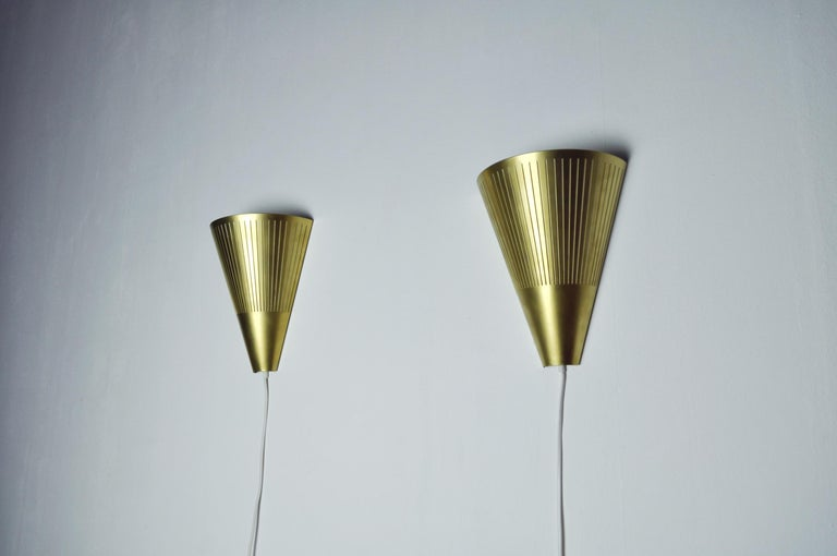 Scandinavian Modern Brass Wall Sconces by Danish Lyfa, 1960s-1970s For Sale 2