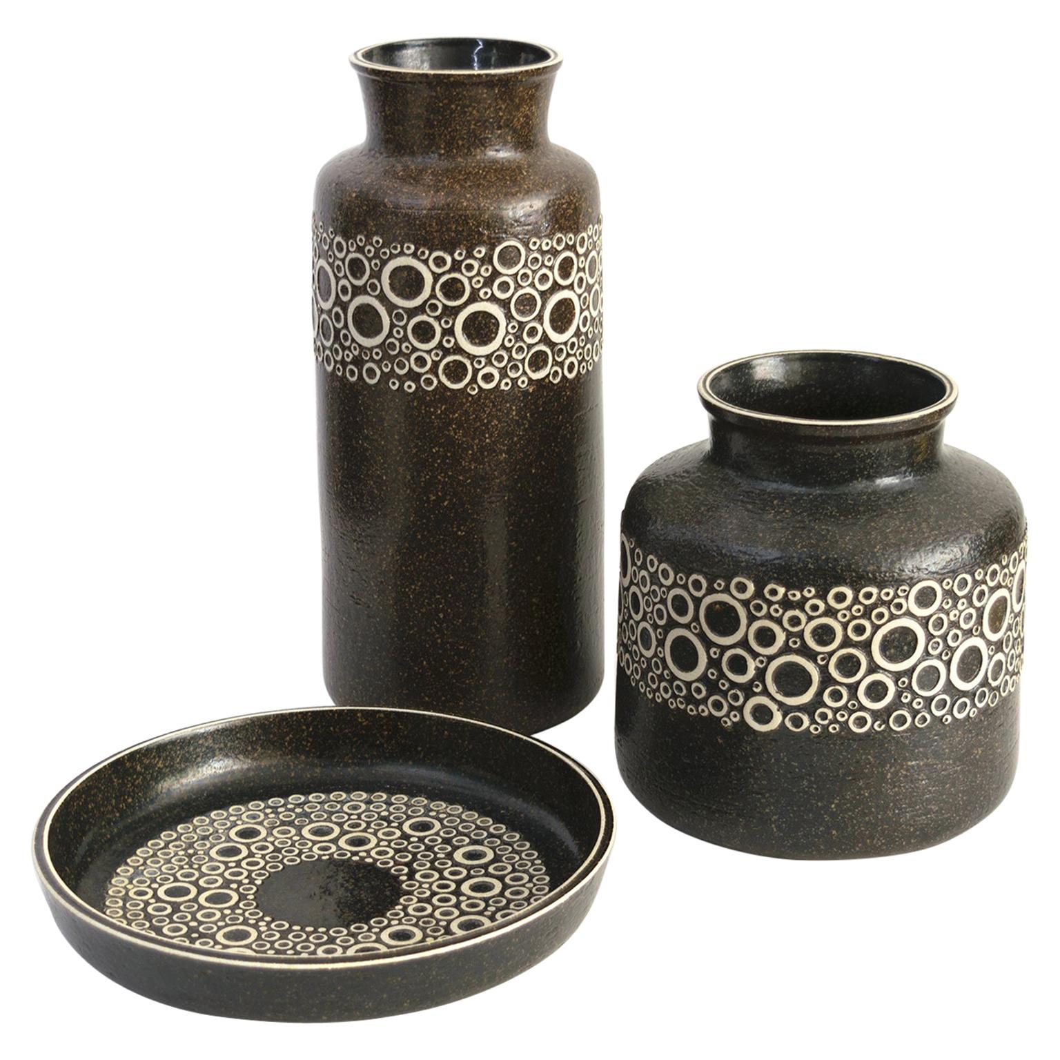 Scandinavian Modern Britt-Louise Sundell, Vases and Dish for Gustavsberg, Sweden