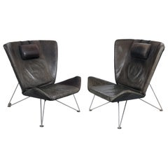 Scandinavian Modern Brown Leather Lounge Chairs, Sweden, 1970s