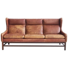 Scandinavian Modern Brown Leather Three-Seat Sofa