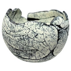 Scandinavian Modern Brutalist Bowl by Artist Ulla Viotti Made of White Clay