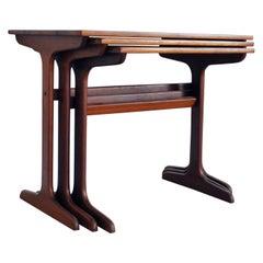 Scandinavian Modern Cabinetmaker Nesting Tables in Solid Teak, Denmark, 1960s