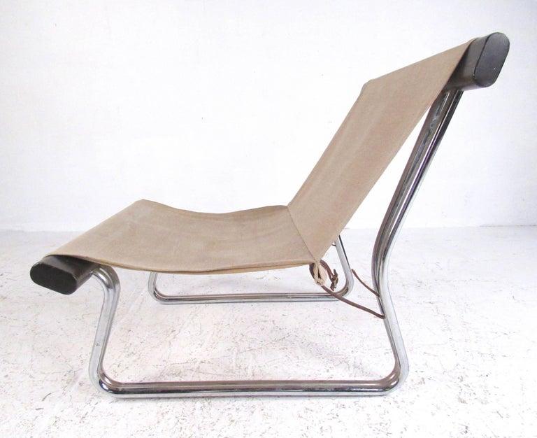 Scandinavian Modern Canvas And Chrome Sling Chair At 1stdibs