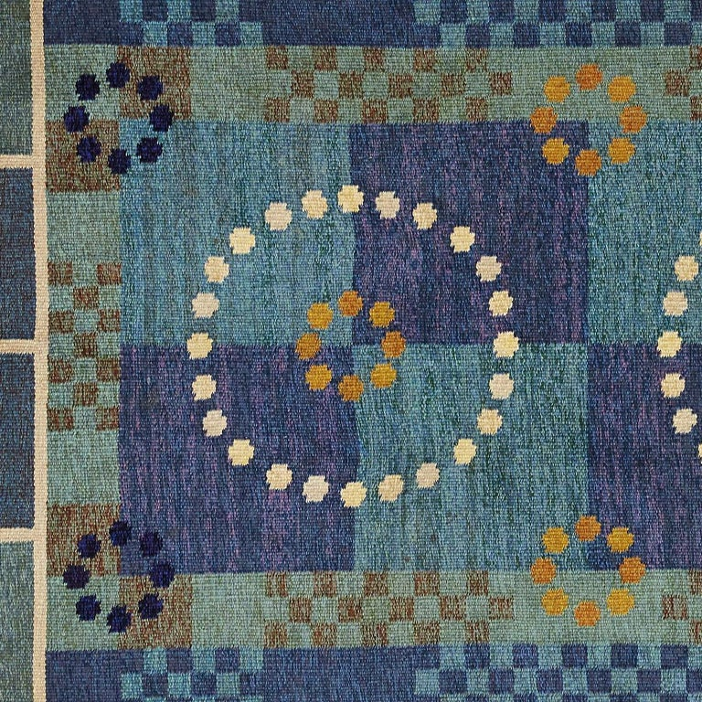 Scandinavian Modern Carl Dangel Wool Flat-Weave Rug In Excellent Condition For Sale In New York, NY