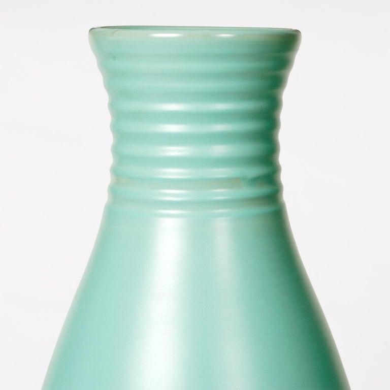 Art Deco Scandinavian Modern Ceramic Large Green Vase by Ewald Dahlskog for Bo Fajans For Sale