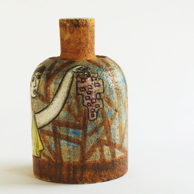 Swedish Scandinavian Modern Ceramic Vase signed by Mari Simmulson for Uppsala Ekeby 1950 For Sale
