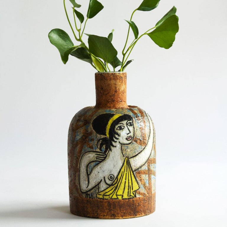 Scandinavian Modern Ceramic Vase signed by Mari Simmulson for Uppsala Ekeby 1950 For Sale 1