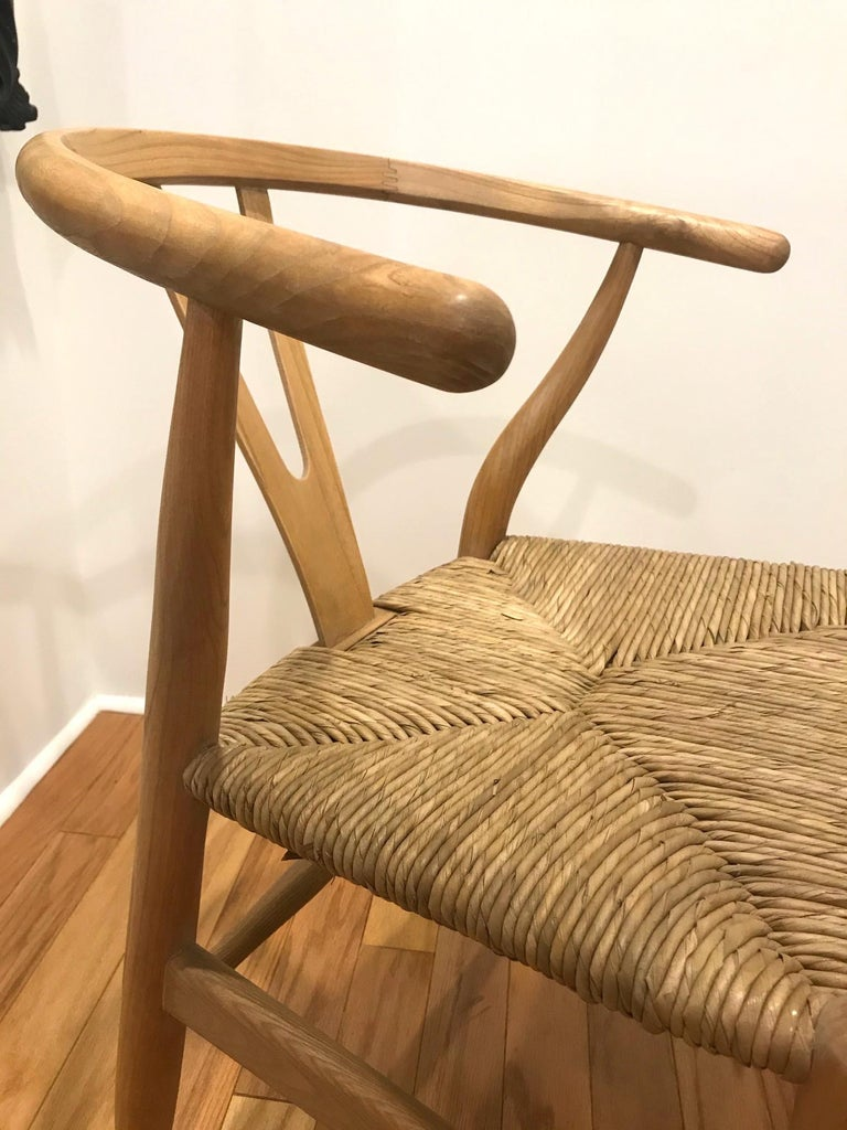 Scandinavian Modern Chair in Natural Teak Wood with Handwoven Seat For Sale 3