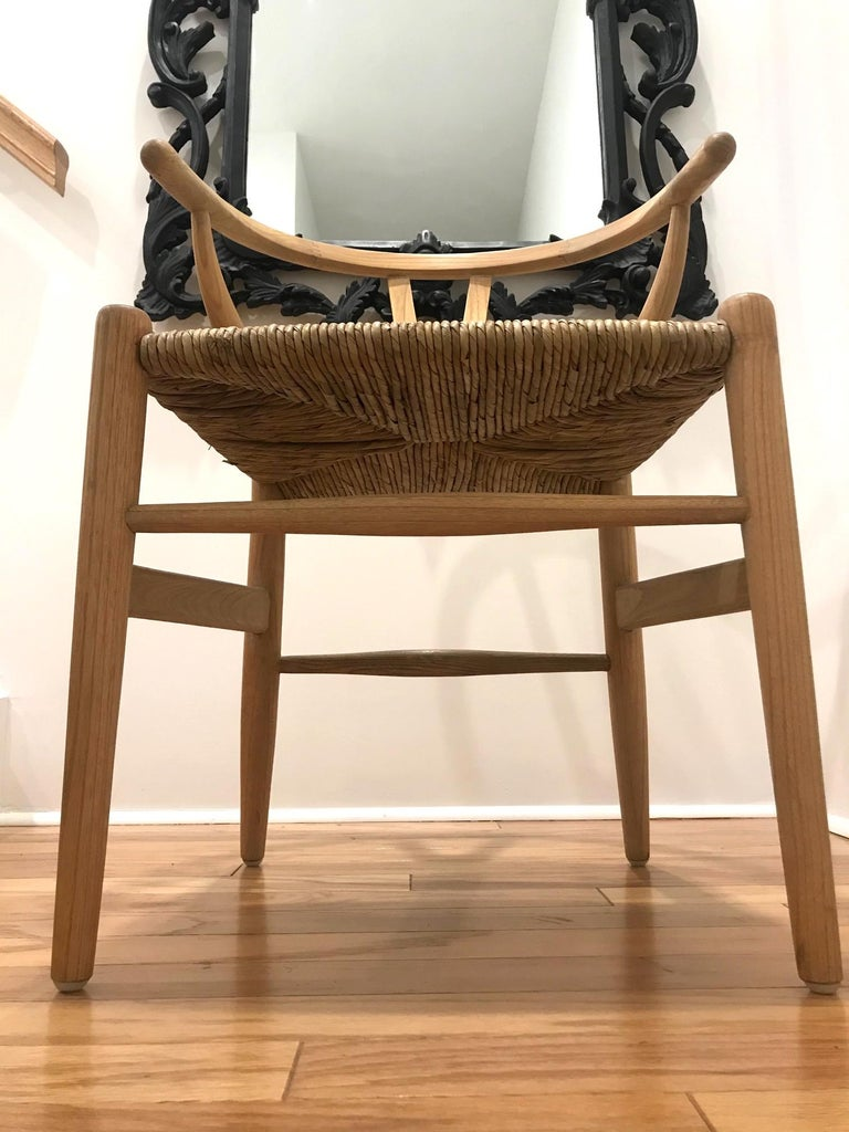 Scandinavian Modern Chair in Natural Teak Wood with Handwoven Seat For Sale 4