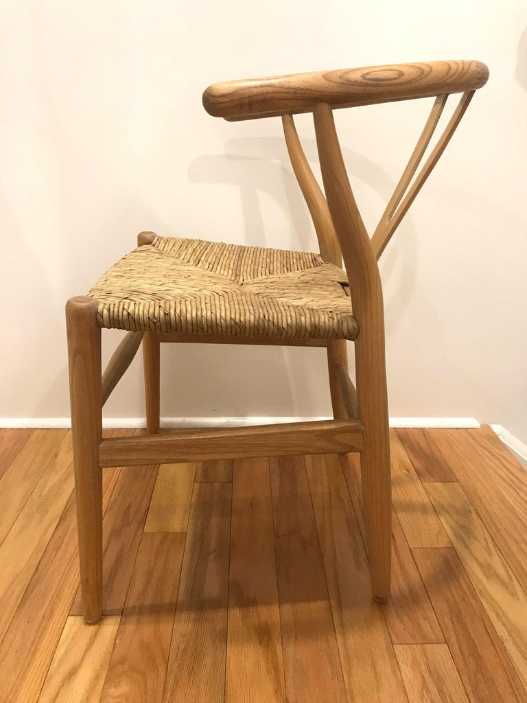 Indonesian Scandinavian Modern Chair in Natural Teak Wood with Handwoven Seat For Sale