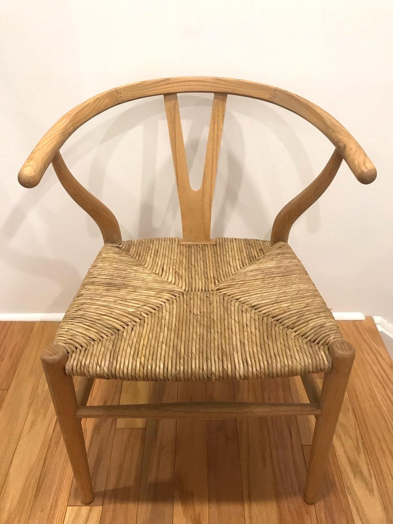 Contemporary Scandinavian Modern Chair in Natural Teak Wood with Handwoven Seat For Sale