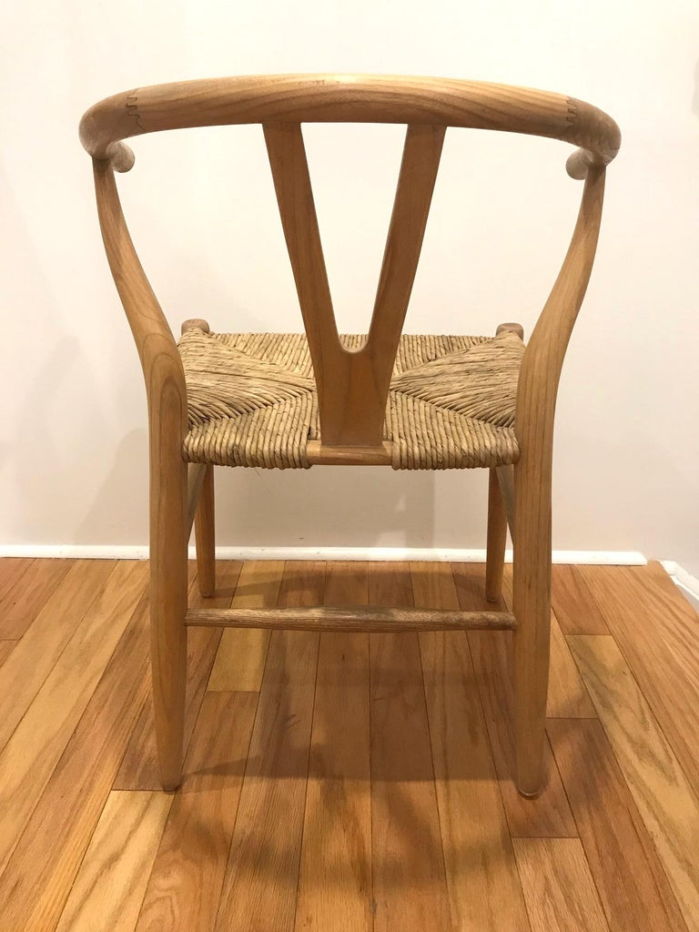 Papercord Scandinavian Modern Chair in Natural Teak Wood with Handwoven Seat For Sale