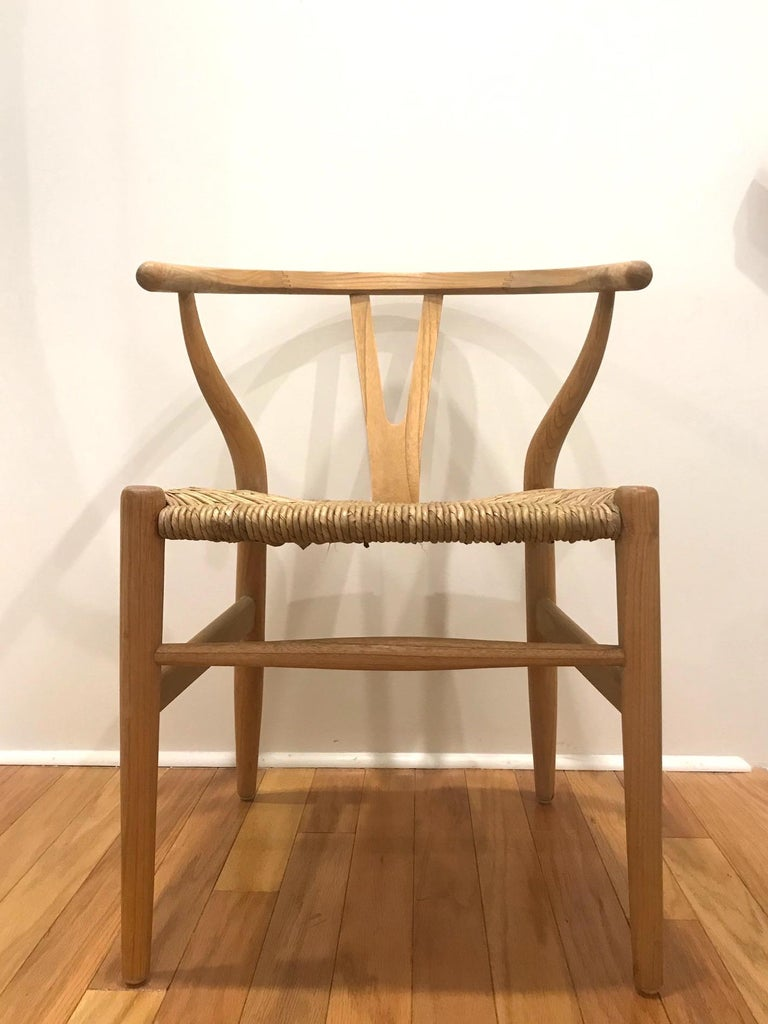 Scandinavian Modern Chair in Natural Teak Wood with Handwoven Seat For Sale 1