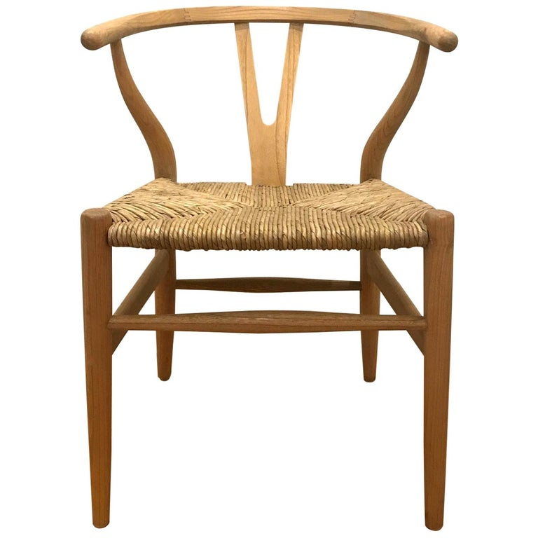 Scandinavian Modern Chair in Natural Teak Wood with Handwoven Seat For Sale