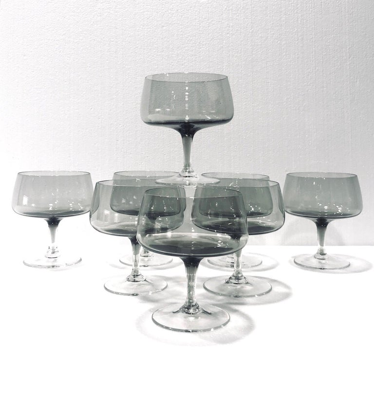 Swedish Scandinavian Modern Champagne Glasses in Smoked Grey, Set of Seven, circa 1960s