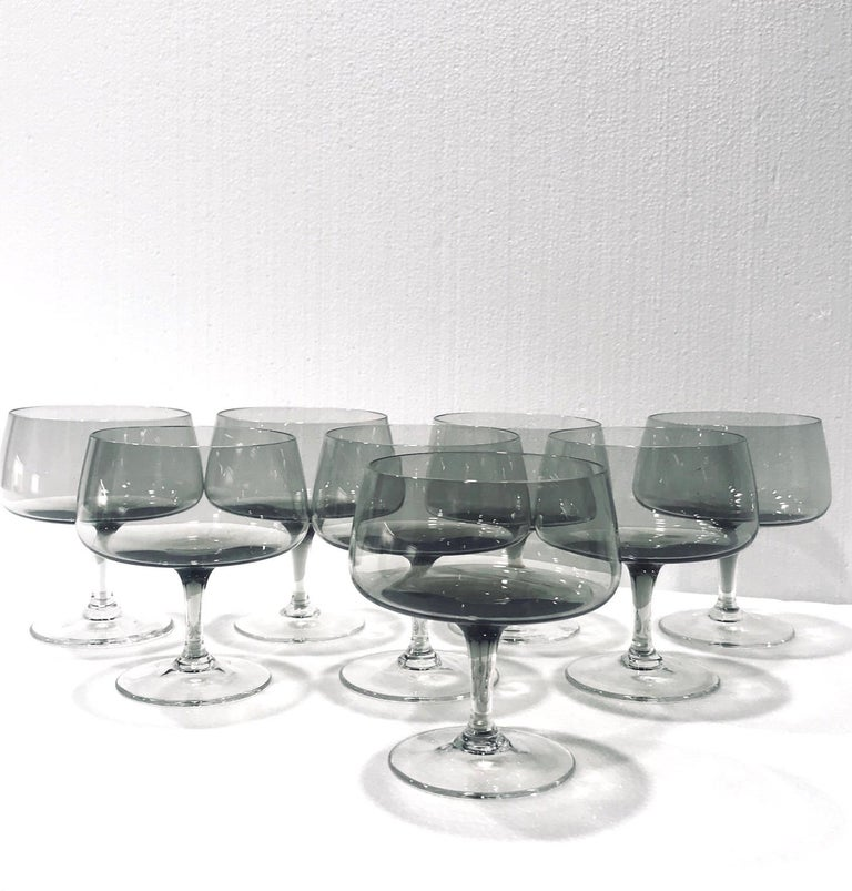 Hand-Crafted Scandinavian Modern Champagne Glasses in Smoked Grey, Set of Seven, circa 1960s