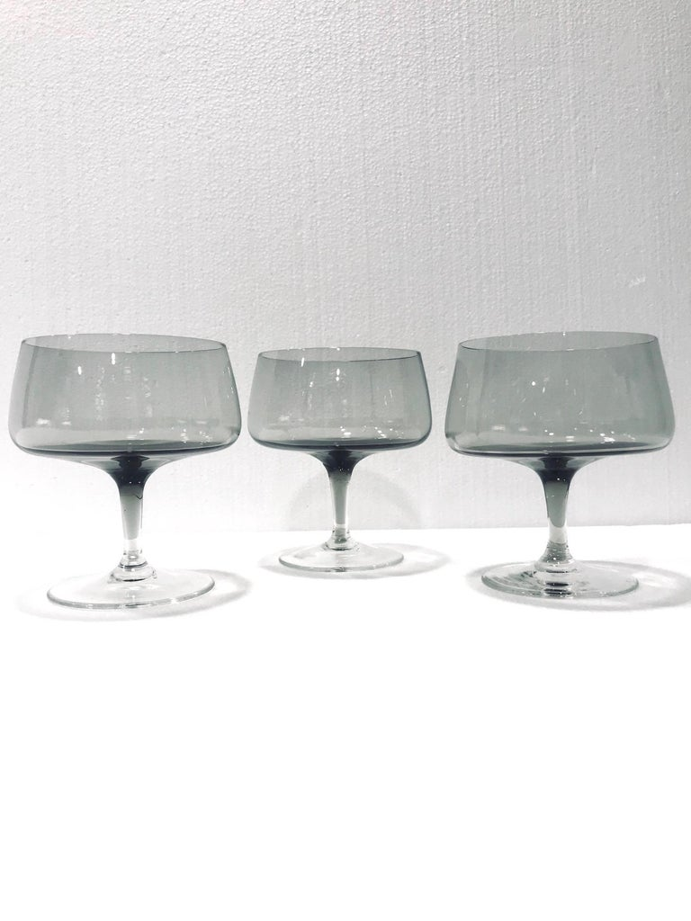 Crystal Scandinavian Modern Champagne Glasses in Smoked Grey, Set of Seven, circa 1960s