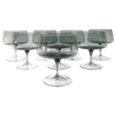 Scandinavian Modern Champagne Glasses in Smoked Grey, Set of Seven, circa 1960s