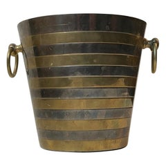 Scandinavian Modern Champagne Ice Bucket in Brass and Silver Plate, 1960s