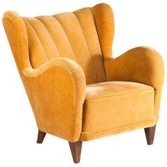 Scandinavian Modern Club Chair in Mustard Yellow Velvet